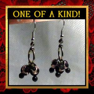 Black & Pink Beaded Earrings #218